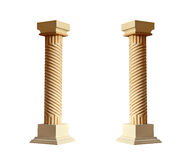 Griekse architecturale die kolom op witte achtergrond wordt geïsoleerd Stock Afbeelding