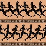 Griekse atleten (naadloos vectorbehang) Stock Fotografie