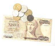 Griekse drachme en muntstukken Stock Fotografie