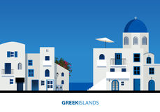 Griekse eilanden Mening van typische Griekse eilandarchitectuur op blauw vector illustratie