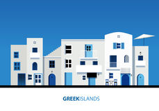 Griekse eilanden Mening van typische Griekse eilandarchitectuur op blauw stock illustratie