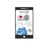 Griekse eilandthassos op mobiele telefoonillustratie in kleurrijk Royalty-vrije Stock Afbeeldingen