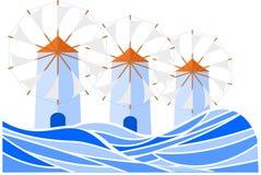 Griekse eilandwindmolens voor uw ontwerp of embleem royalty-vrije illustratie