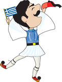 Griekse Evzone die met Vlag danst Royalty-vrije Stock Afbeelding