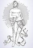 Griekse God, de mythologische held van oud Griekenland Hand-drawn mooi vector geïsoleerd kunstwerk classicism Mythen en legenden royalty-vrije illustratie