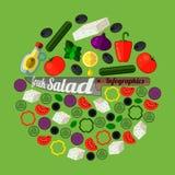Griekse infographics van het saladerecept Reeks grafische elementen royalty-vrije illustratie