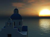 Griekse kerk bij zonsondergang. Stock Foto