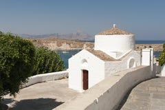Griekse kerk in Lindos Stock Afbeeldingen