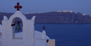 Griekse Kerk op Santorini-eiland royalty-vrije stock fotografie