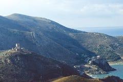 Griekse kustlijn op de Peloponnesus, Mani Peninsula Stock Afbeeldingen