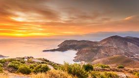 Griekse kustlijn op de Peloponnesus, Mani Peninsula stock foto