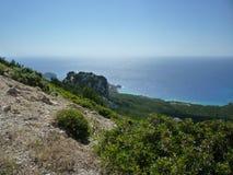 Griekse Kustlijnoverzees Rhodos, Griekenland, Griekse Eilanden Royalty-vrije Stock Foto's