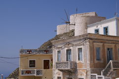 Griekse molens Royalty-vrije Stock Foto's