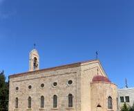 Griekse Orthodoxe Basiliek van Heilige George in stad Madaba, Jordanië Stock Foto's
