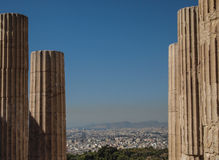 Griekse ruïnes die Athene in Griekenland overzien Royalty-vrije Stock Fotografie