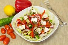 Griekse salade met kappertjes Royalty-vrije Stock Foto's