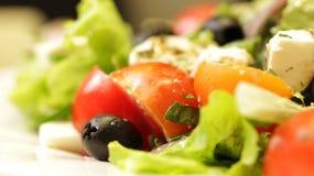 Griekse Salade op Plaat Dichte Omhooggaand royalty-vrije stock foto