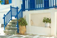 Griekse stijl blauwe trap 2 Stock Afbeeldingen