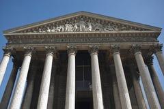 Griekse Tempel, Madeleine Church, Parijs, Frankrijk Stock Afbeeldingen