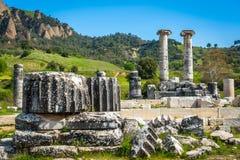 Griekse Tempel van Artemis dichtbij Ephesus en Sardis Stock Foto's