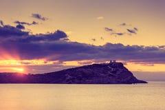 Griekse tempel van Poseidon bij zonsopgang, Kaap Sounio Stock Fotografie