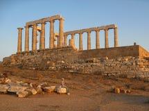 Griekse Tempel van Poseidon Sounio Stock Foto's