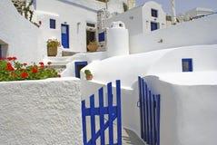 Griekse traditionele architectuur in isla Santorini Stock Foto's