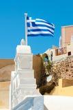 Griekse vlag in de wind royalty-vrije stock afbeeldingen