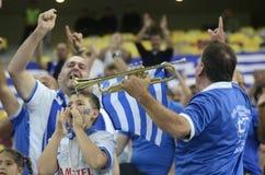 Griekse voetbalventilators Stock Afbeeldingen
