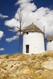 Griekse Windmolens, Cycladen, Griekenland Stock Afbeelding