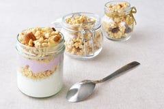 Griekse yoghurt met fruit en knapperige noot Royalty-vrije Stock Afbeeldingen