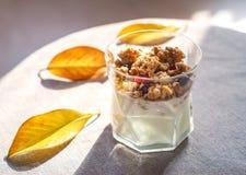 Griekse yoghurt met granola, droge bessen in glas en gele bladeren Grijze achtergrond met rustieke stijldoek De hoogste ruimte va stock afbeelding