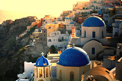 Griekse zonsondergang op Santorini stock foto's