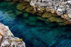 Grieta de Silfra con color de agua hermoso en Thingvellir Foto de archivo libre de regalías