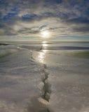 Grieta en el lago Chudskoy Fotografía de archivo libre de regalías