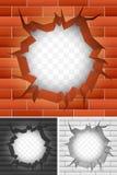 Grieta en pared de ladrillo. Imagenes de archivo