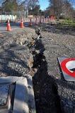 Grietas del terremoto en Christchurch, Nueva Zelandia Foto de archivo libre de regalías