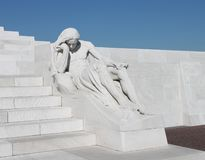 Grieving figure sculpture at Canadian Vimy Ridge Memorial, France Stock Photos