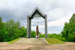 Grieving mother, Ufa, Russia. Monument to the grieving mother dedicated to soldiers, natives of Bashkortostan, who died in a local military conflicts, Ufa Stock Image