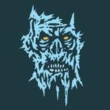 Griezelig blauw gezichtsdemon Vector illustratie royalty-vrije illustratie