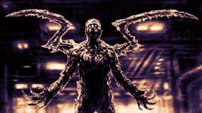 Griezelig demoninsect op achtergrond van fabrieksvloer royalty-vrije illustratie