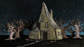 Griezelig Halloween-Heksenplattelandshuisje stock illustratie