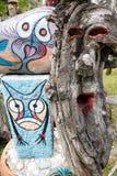 Griezelig houten beeldhouwwerk Stock Afbeeldingen