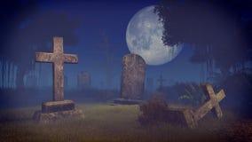 Griezelig kerkhof onder grote volle maan Stock Fotografie