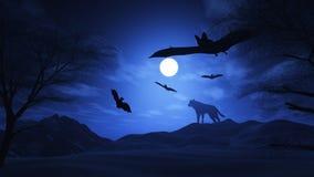 Griezelig landschap met wolf en knuppels royalty-vrije illustratie