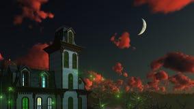 Griezelig mystiek herenhuis onder nachthemel stock illustratie