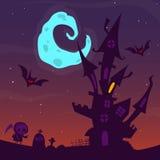 Griezelig oud spookhuis Halloween-Beeldverhaalachtergrond Vector illustratie royalty-vrije stock afbeelding