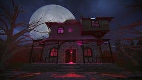 Griezelig spookhuis op een lengte van de volle maannacht stock illustratie