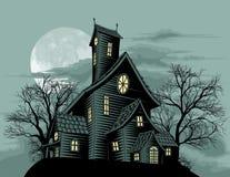 Griezelige achtervolgde de scèneillustratie van het spookhuis Stock Afbeelding