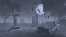 Griezelige begraafplaats onder grote volle maan Stock Afbeelding